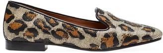 Kate Spade Torte Leopard-Print Raffia Loafers