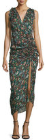 Veronica Beard Teagan Fall Garden Printed Silk Midi Dress, Black/Multicolor