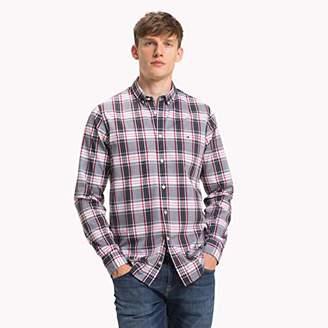 Tommy Hilfiger Men's Slim Color Check Shirt Casual, Red (Goji Berry/Multi 902), Medium