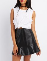 Charlotte Russe Distressed Muscle Tank Top