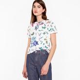 Paul Smith Women's White 'Painted Floral' Print Cotton T-Shirt