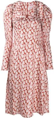 Shrimps Sketch-Print Puff Sleeves Dress