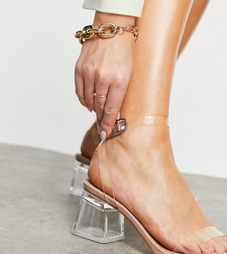 Truffle Collection wide fit clear heeled sandals
