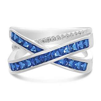 INSPIRED BY YOU. Rhodium Plated Sterling Silver Square Shaped Channel Set Simulated Sapphire and Cubic Zirconia X Bypass Right Hand Ring for Women (Size 7)