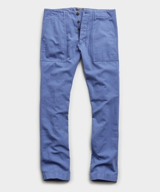 Todd Snyder Herringbone Camp Pant in French Blue