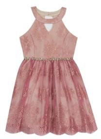 Rare Editions Big Girl Lace Halter Dress