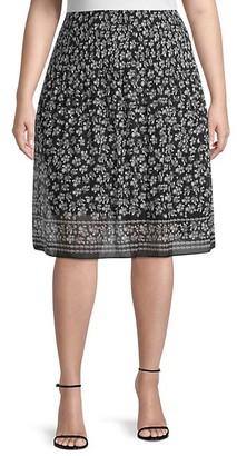 Max Studio Plus Ditsy-Print Chiffon Skirt