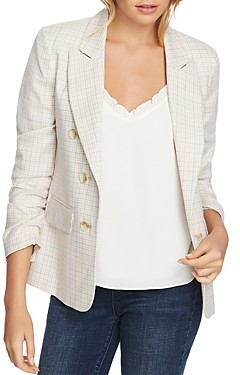 1 STATE Festival Check Ruched-Sleeve Jacket