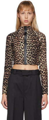 Ganni Tan and Black Recycled Jersey Leopard Zip-Up Top