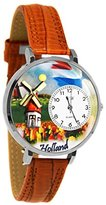Whimsical Watches Women's U1420007 Unisex Silver Holland Tan Leather And Silvertone Watch