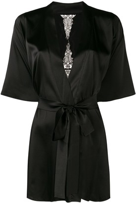 Fleur of England Onyx lace-embroidered robe