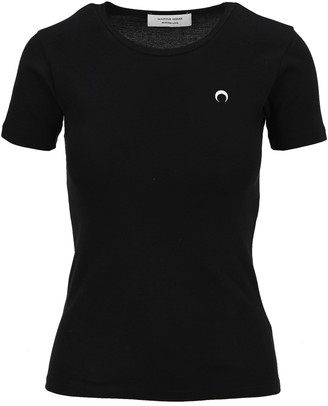 Marine Serre Logo Embroidered T-Shirt