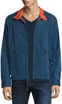 Andrew Marc Barracuda Cloth Rain Bomber Jacket, Blue