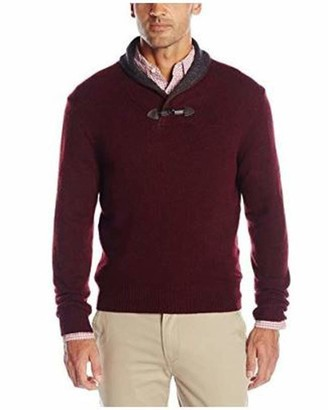 Haggar Men's Long Sleeve Contrast Shawl Collar with Toggle Sweater