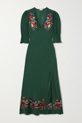 Rixo Carmen Embellished Embroidered Crepe Midi Dress - Dark green