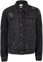 Topman Black Distressed Denim Jacket