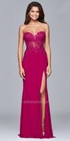 Faviana Strapless Jersey Beaded Illusion Corset Prom Dress