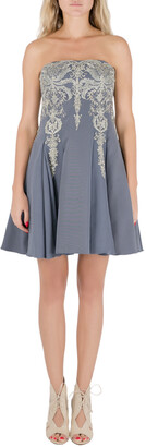 Marchesa Grey Cotton Silk Tulle Embroidered Applique Strapless Dress S