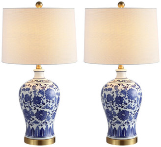"Jonathan Y Designs Jennifer 25.75"" Ceramic Led Table Lamp, Blue and White, Set Of 2"