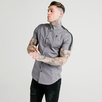 SikSilk Men's Piped Taped Short-Sleeve Button-Up Shirt