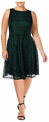 Gabby Skye Women's Sleeveless Round Neck Belted Fit and Flare Crochet Lace Dress