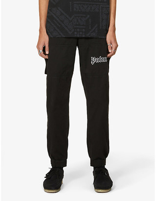 Palm Angels Logo-embroidered srtraight cotton-twill trousers