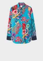 Paul Smith Women's Turquoise 'Ocean' Print Cotton Shirt