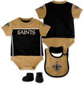 NFL New Orleans Saints Lil Jersey 3-Piece Creeper, Bib, and Bootie Set