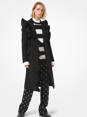 Michael Kors Bonded Wool and Cotton Gabardine Ruffle Chesterfield Coat