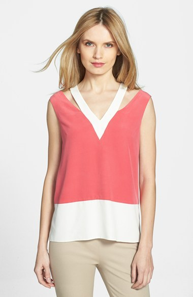 Rachel Roy Cutout Detail Colorblock Silk Shell