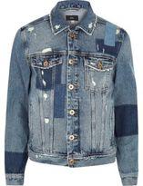 River Island Mens Blue distressed patchwork denim jacket