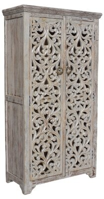 Bungalow Rose Konen Hand Carved Armoire