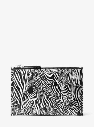 Michael Kors Bancroft Large Zebra Print Calf Leather Pouch
