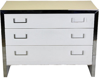 One Kings Lane Vintage White Lacquered & Chrome Dresser - Vintage Bella Home