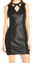 GUESS Black Paneled Women's Size 4 Faux-Leather Sheath Dress