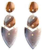 Kara Ross Gold, Agate and Diamond Arrow Earrings