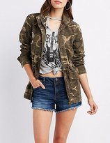 Charlotte Russe Destroyed Camo Anorak Jacket