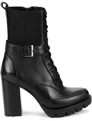 Charles David Gimmick Leather Stack-Heel Combat Boots