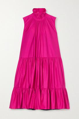 Roksanda Athis Two-tone Tiered Cotton-satin Mini Dress