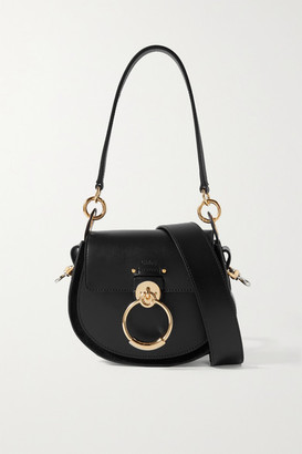 Chloé Tess Small Leather And Suede Shoulder Bag - Black