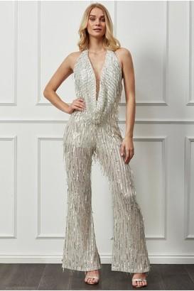 Goddiva Cowl Neck Sequin Jumpsuit - Champagne