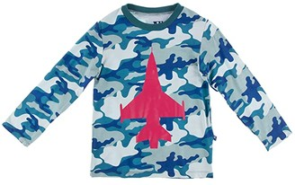 Kickee Pants Kids Long Sleeve Print Easy Fit Crew Neck Tee (Toddler) (Oasis Military Fighter Jet) Kid's Clothing