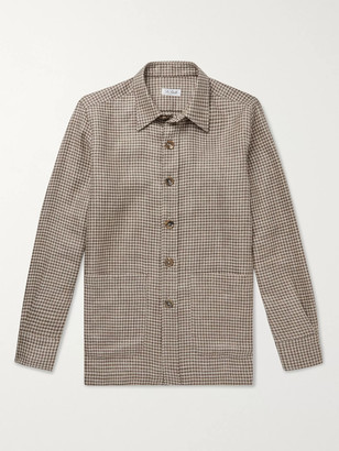 De Petrillo Houndstooth Virgin Wool And Linen-Blend Overshirt