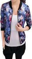 Allegra K Women Long Sleeve Stand Collar Zip Up Floral Bomber Jacket