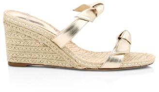 Alexandre Birman Clarita Bow Metallic Leather Wedge Mules
