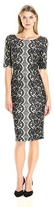 Julian Taylor Women's Elbow Sleeved Printed Lace Dress