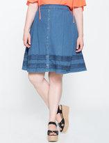 ELOQUII Plus Size Button Up Denim Skirt