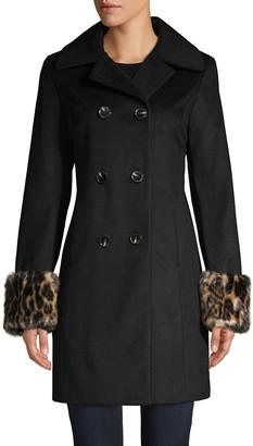 Tahari Faux Fur Cuffs Wool-Blend Double-Breasted Coat