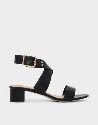 Charles & Keith Criss Cross Thick Strap Heeled Sandals