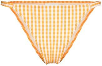 Peony Swimwear Gingham Check Print Bikini Bottoms